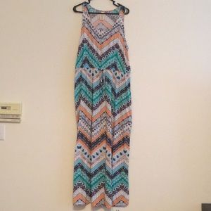 Teal and Peach Maxi Dress